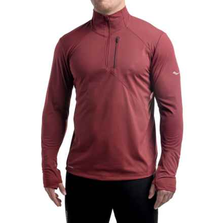 Saucony Run Shield Sport Shirt - Zip Neck, Long Sleeve (For Men) in Bordeaux - Closeouts