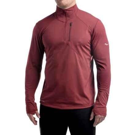 Saucony Run Shield Sport Shirt - Zip Neck, Long Sleeve (For Men) in Bordeaux - Closeouts