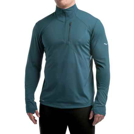 Saucony Run Shield Sport Shirt - Zip Neck, Long Sleeve (For Men) in Major Blue - Closeouts