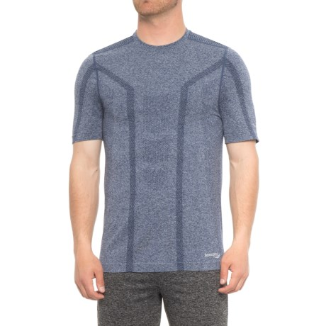 Saucony Seamless Body-Mapped Heathered Shirt - Short Sleeve (For Men) in Midnight Heather