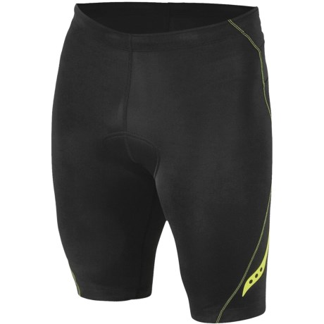 Saucony Tri Shorts - UPF 50+ (For Men) in Black/Hyper Lime