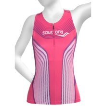 Saucony Tri Zip Tank Top - UPF 50+, Built-In Shelf Bra (For Women) in Pink Energy - Closeouts