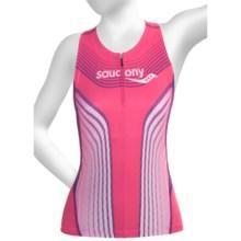Saucony Tri Zip Tank Top - UPF 50+, Built-In Shelf Bra (For Women) in Pink Energy - Closeouts