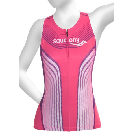 Saucony Tri Zip Tank Top - UPF 50+, Built-In Shelf Bra (For Women) in Pink Energy