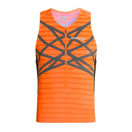Saucony Tri Zip Tank Top - UPF 50+ (For Men) in Vizipro