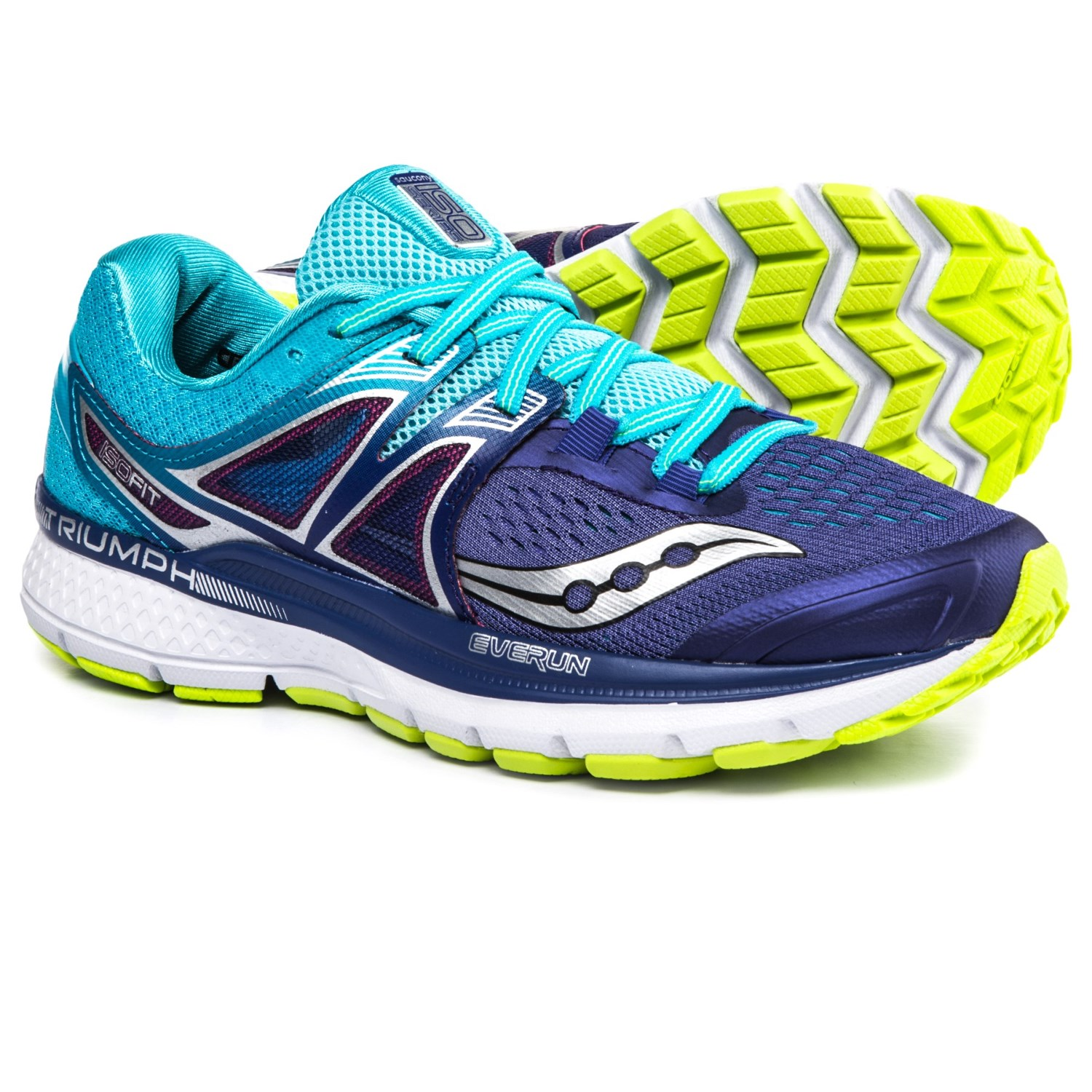 Saucony Triumph Iso 3 Running Shoes For Women In Purple Blue Citron