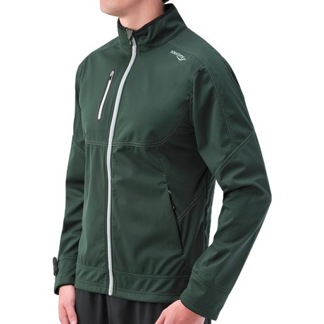 Saucony Vortex Soft Shell Jacket (For Men) in British Racing Green/Grey