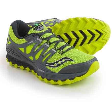 Saucony Xodus ISO Trail Running Shoes (For Men) in Citron/Grey - Closeouts
