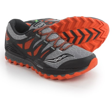 Saucony Xodus ISO Trail Running Shoes (For Men) in Grey/Orange/Black