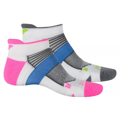 Saucony XP Lite Cushion No-Show Socks - 2-Pack, Below the Ankle (For Men and Women) in White/Pink