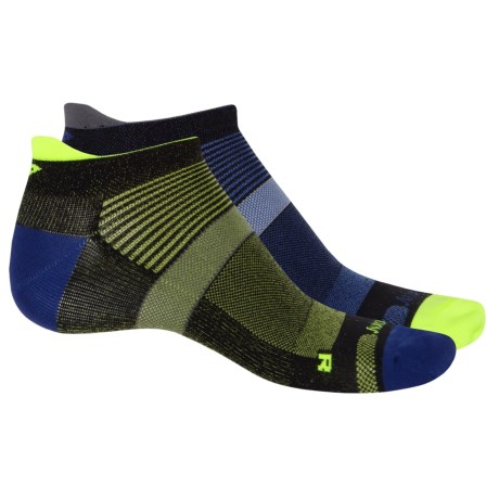 Saucony XP Zero-Cushion Socks - 2-Pack, Below the Ankle (For Men and Women) in Black/Blue Asst