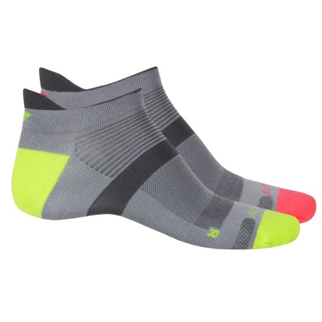 Saucony XP Zero-Cushion Socks - 2-Pack, Below the Ankle (For Men and Women) in Grey/Citron