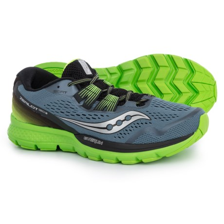 Saucony Zealot ISO 3 Running Shoes (For Men) in Grey/Black/Slime