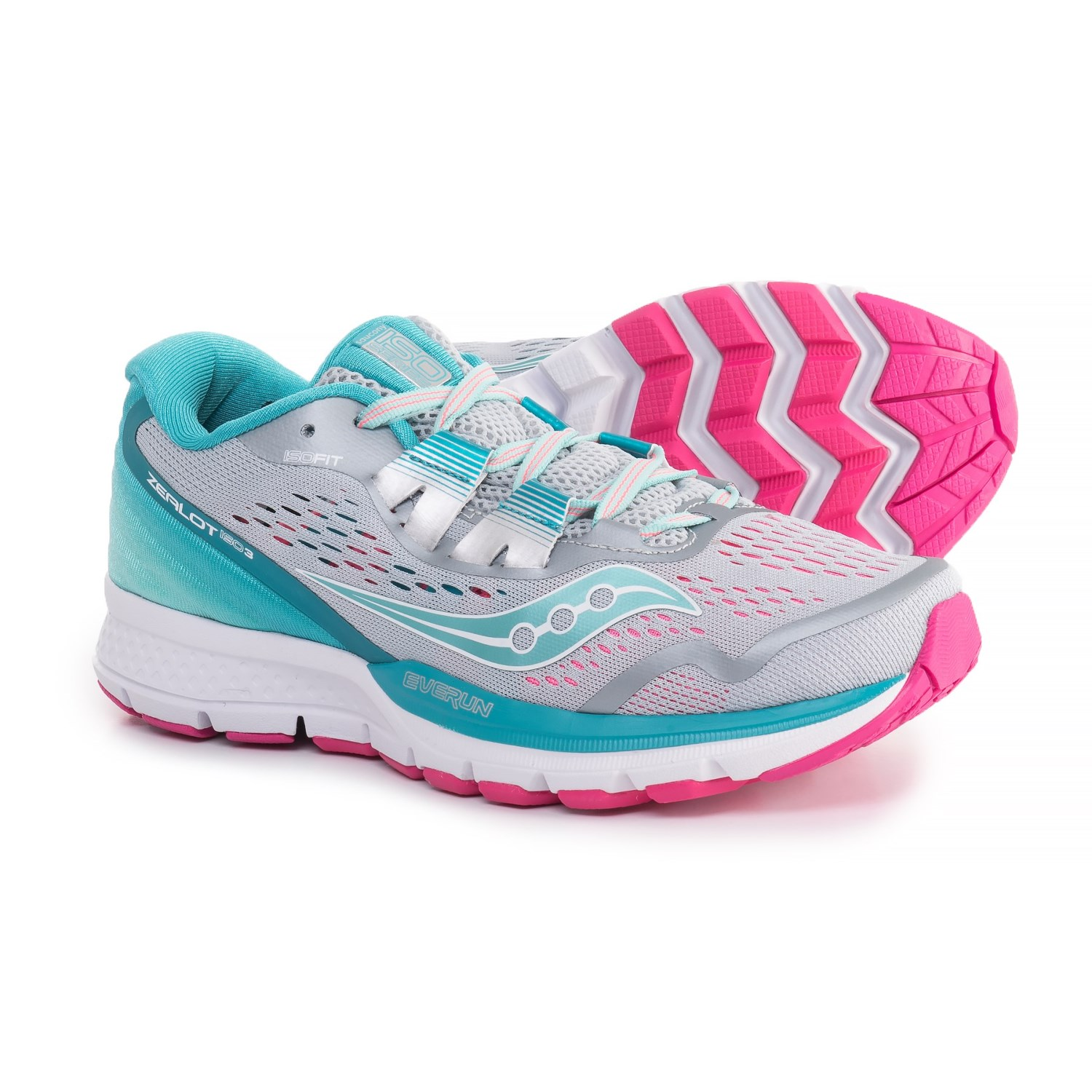 Saucony Zealot ISO 3 Running Shoes (For Women) in Grey Blue Pink a5b61c854