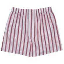 Savile Collection by Derek Rose Boxer Shorts - Cotton (For Men) in Wine/White/Blue Stripe - Closeouts