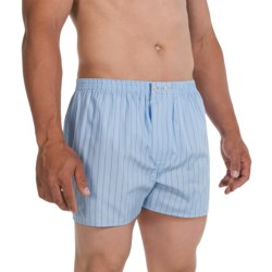 Savile Collection by Derek Rose Boxers - Cotton (For Men) in Baby Blue/Blue Wide Stripe