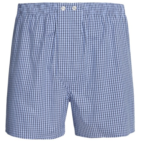 Savile Collection by Derek Rose Boxers - Cotton (For Men) in Blue/Black Gingham Check