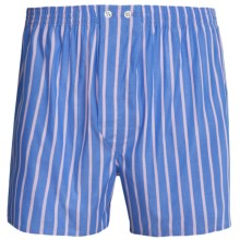 Savile Collection by Derek Rose Boxers - Cotton (For Men) in Blue/Peach Stripe - Closeouts