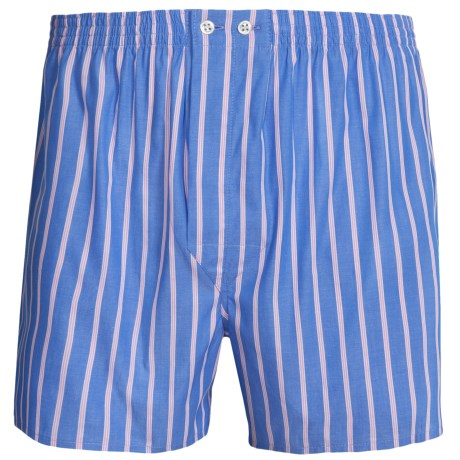 Savile Collection by Derek Rose Boxers - Cotton (For Men) in Blue/White Pin Stripe