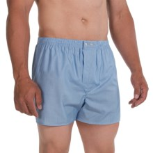 Savile Collection by Derek Rose Boxers - Cotton (For Men) in Chambray Blue/White Stripe - Closeouts