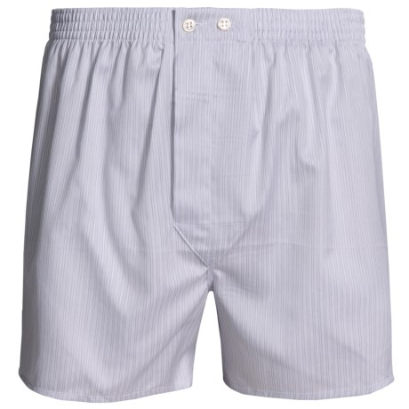 Savile Collection by Derek Rose Boxers - Cotton (For Men) in Grey/White Rope Stripe