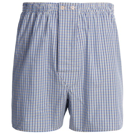 Savile Collection by Derek Rose Boxers - Cotton (For Men) in Navy/Blue/Yellow Check