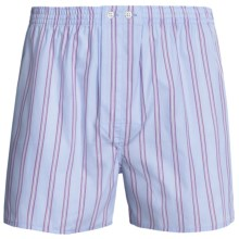 Savile Collection by Derek Rose Boxers - Cotton (For Men) in Pink/Blue/White Stripe - Closeouts