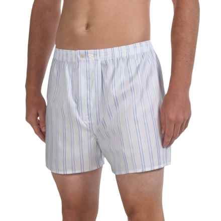 Savile Collection by Derek Rose Boxers - Cotton (For Men) in White/ Blue Satin Stripe - Closeouts