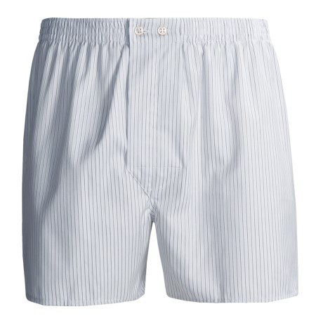 Savile Collection by Derek Rose Boxers - Cotton (For Men) in White/Charcoal Stripe
