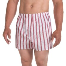 Savile Collection by Derek Rose Boxers - Cotton (For Men) in Wine/White/Blue Stripe - Closeouts