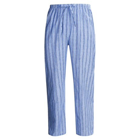 Savile Collection by Derek Rose Pajama Bottoms with Button-Fly (For Men) in Faded Blue/Faded Light Blue Multi Stripe