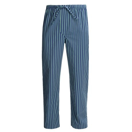 Savile Collection by Derek Rose Pajama Bottoms with Button-Fly (For Men) in Navy/Green Wide Stripe