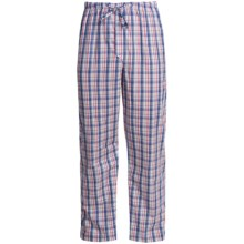 Savile Collection by Derek Rose Pajama Bottoms with Button-Fly (For Men) in White/Blue/Red Windowpane - Closeouts