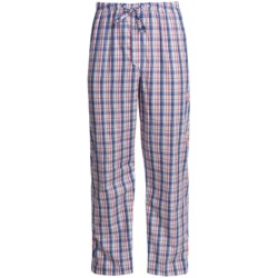 Savile Collection by Derek Rose Pajama Bottoms with Button-Fly (For Men) in White/Blue/Red Windowpane