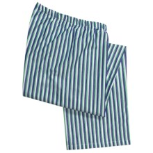 Savile Collection by Derek Rose Pajama Bottoms with Button-Fly (For Men) in White/Green/Blue Stripe - Closeouts