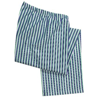 Savile Collection by Derek Rose Pajama Bottoms with Button-Fly (For Men) in White/Green/Blue Stripe