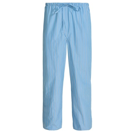 Savile Collection by Derek Rose Pajama Pants with Button-Fly (For Men) in Baby Blue/Blue Multi Stripe