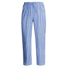 Savile Collection by Derek Rose Pajama Pants with Button-Fly (For Men) in Faded Blue/Faded Light Blue Multi Stripe - Closeouts
