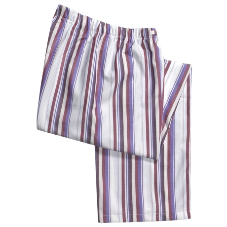 Savile Collection by Derek Rose Pajama Pants with Button-Fly (For Men) in Purple/Pink/White Stripe