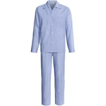 Savile Collection by Derek Rose Pajamas - Cotton, Long Sleeve (For Men) in Baby Blue/Blue Wide Stripe - Closeouts