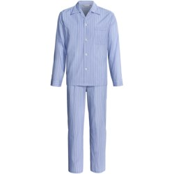 Savile Collection by Derek Rose Pajamas - Cotton, Long Sleeve (For Men) in Pale Blue Birdseye