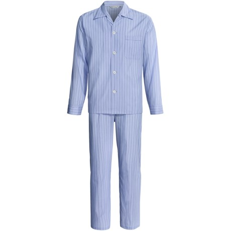 Savile Collection by Derek Rose Pajamas - Cotton, Long Sleeve (For Men) in Denim Blue/White Multi Stripe