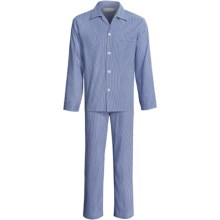 Savile Collection by Derek Rose Pajamas - Cotton, Long Sleeve (For Men) in Blue/Black Gingham Check - Closeouts