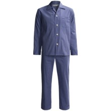 Savile Collection by Derek Rose Pajamas - Cotton, Long Sleeve (For Men) in Blue/Red Grid Check - Closeouts
