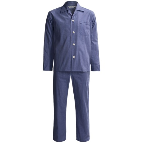 Savile Collection by Derek Rose Pajamas - Cotton, Long Sleeve (For Men) in Blue/Red Grid Check
