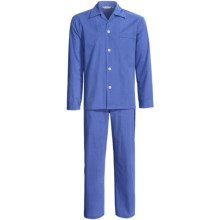 Savile Collection by Derek Rose Pajamas - Cotton, Long Sleeve (For Men) in Blue/White Micro Check - Closeouts