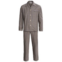 Savile Collection by Derek Rose Pajamas - Cotton, Long Sleeve (For Men) in Brown/Blue Check - Closeouts