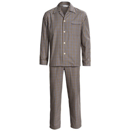 Savile Collection by Derek Rose Pajamas - Cotton, Long Sleeve (For Men) in Brown/Blue Check