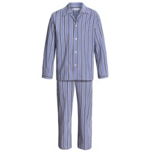 Savile Collection by Derek Rose Pajamas - Cotton, Long Sleeve (For Men) in Charcoal/Blue/Navy Multi Stripe - Closeouts