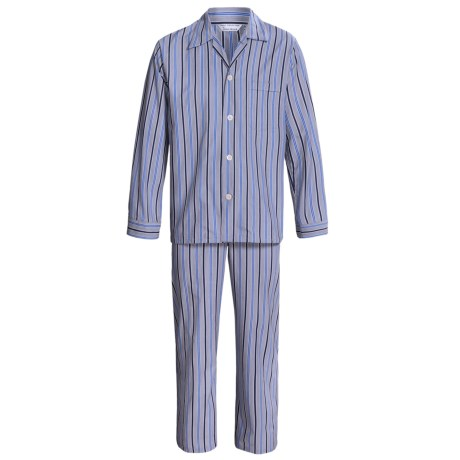 Savile Collection by Derek Rose Pajamas - Cotton, Long Sleeve (For Men) in Charcoal/Blue/Navy Multi Stripe